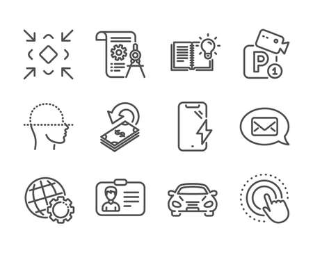 Set of Technology icons, such as Globe, Smartphone charging, Product knowledge, Divider document, Parking security, Face scanning, Identification card, Cashback, Click hand, Minimize, Car. Vector Illusztráció