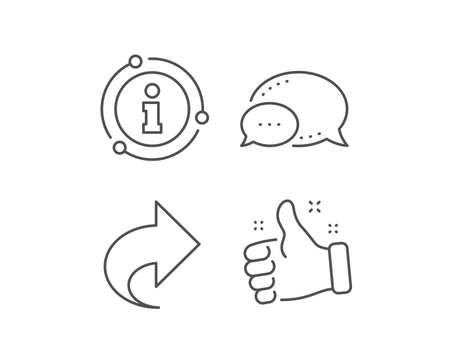 Share arrow line icon. Chat bubble, info sign elements. Link Arrowhead symbol. Communication sign. Linear share outline icon. Information bubble. Vector Çizim