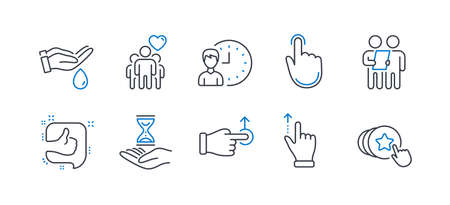Set of People icons, such as Wash hands, Time hourglass, Survey, Touchscreen gesture, Drag drop, Working hours, Like, Hand click, Friendship, Hold heart line icons. Skin care, Sand watch. Vector