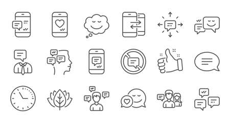 Message and Communication icons. Group chat, Speech bubble and Sms. Contact linear icon set. Quality line set. Vector Foto de archivo - 128970378