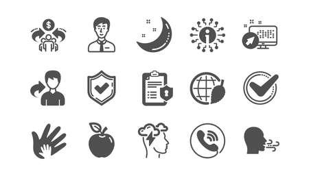 Marca de verificación, economía compartida y los iconos de estrés de Mindfulness. Política de privacidad, Responsabilidad social. Conjunto de iconos clásico. Conjunto de calidad. Vector Ilustración de vector