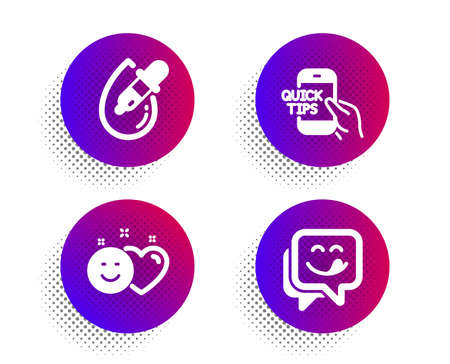 Education, Smile and Eye drops icons simple set. Halftone dots button. Yummy smile sign. Quick tips, Social media like, Pipette. Emoticon. People set. Classic flat education icon. Vector Stock Illustratie