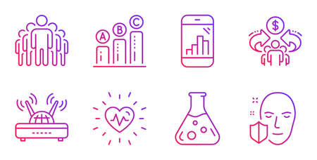 Heartbeat, Chemistry lab and Graph chart line icons set. Group, Graph phone and Sharing economy signs. Wifi, Face protection symbols. Medical heart, Laboratory. Science set. Vector Illustration