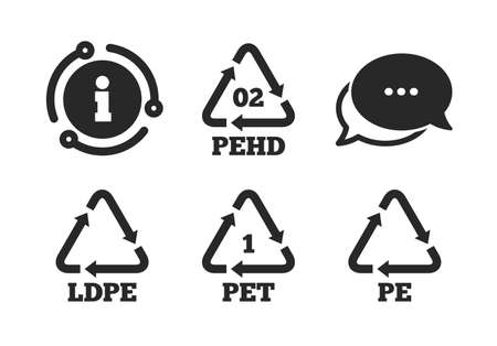 High-density Polyethylene terephthalate sign. Chat, info sign. PET, Ld-pe and Hd-pe icons. Recycling symbol. Classic style speech bubble icon. Vector