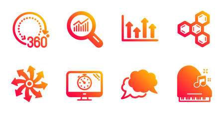 360 degrees, Data analysis and Chat message line icons set. Seo timer, Versatile and Upper arrows signs. Chemical formula, Piano symbols. Panoramic view, Magnifying glass. Business set. Vector Illustration