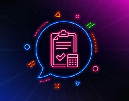 Accounting checklist line icon. Neon laser lights. Calculator sign. Calculate finance symbol. Glow laser speech bubble. Neon lights chat bubble. Banner badge with accounting checklist icon. Vector  イラスト・ベクター素材