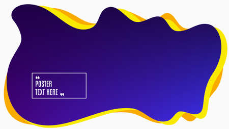 Blurred background. Geometric liquid shape. Abstract purple and blue gradient design. Dynamic shape background. Landing page blurred cover. Composition template banner. Vector