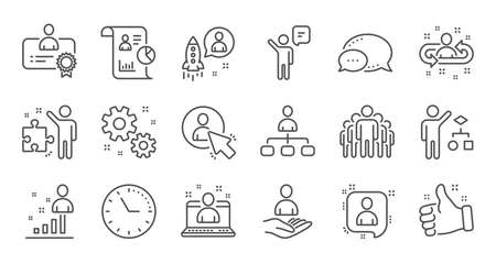 Management line icons. Business people, Algorithm and Group. Startup strategy linear icon set. Quality line set. Vector Illustration