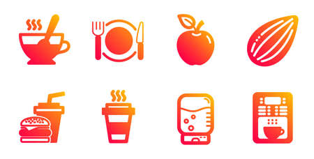 Water cooler, Apple and Almond nut line icons set. Hamburger, Restaurant food and Tea cup signs. Takeaway, Coffee maker symbols. Office drink, Fruit. Food and drink set. Vector