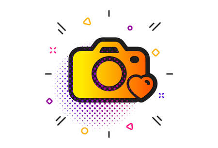 Love photography sign. Halftone circles pattern. Photo camera icon. Heart symbol. Classic flat photo camera icon. Vector