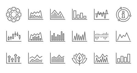 Charts and graphs line icons. Candlestick graph, Infochart and Report diagram. Presentation linear icon set. Quality line set. Vector Zdjęcie Seryjne - 128970545