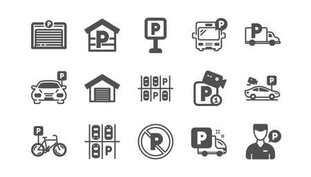 Parking icons. Garage, Valet servant and Paid parking. Car transport park place classic icon set. Quality set. Vector