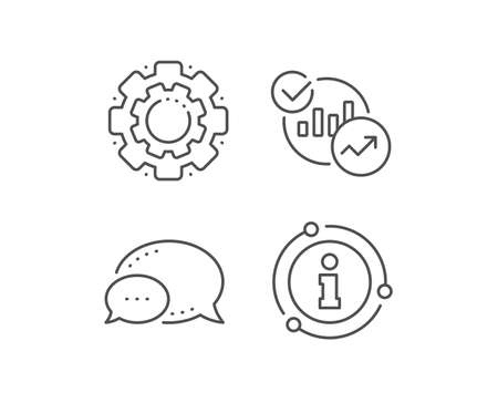 Charts, Statistics line icon. Chat bubble, info sign elements. Report graph or Sales growth sign. Analytics data symbol. Linear statistics outline icon. Information bubble. Vector Çizim