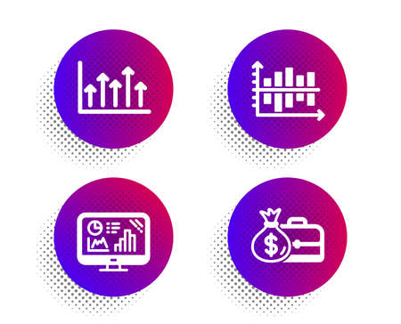 Growth chart, Analytics graph and Diagram chart icons simple set. Halftone dots button. Salary sign. Upper arrows, Growth report, Presentation graph. Diplomat with money bag. Education set. Vector
