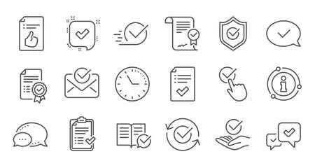 Aprobar iconos de línea. Lista de verificación, certificado y medalla de premio. Conjunto de iconos lineal de documento certificado. Conjunto de líneas de calidad. Vector
