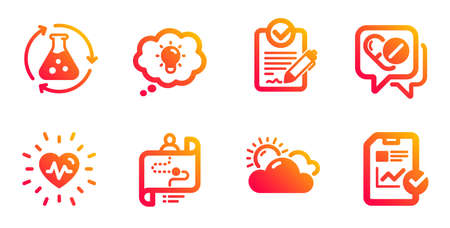 Energy, Rfp and Sunny weather line icons set. Journey path, Chemistry experiment and Heartbeat signs. Medical drugs, Report checklist symbols. Lightbulb, Request for proposal. Science set. Vector