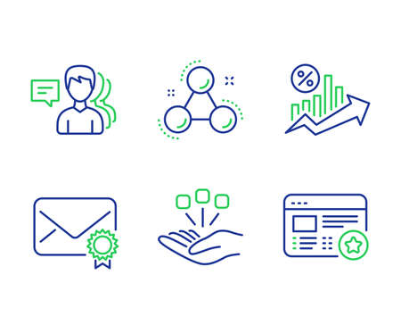 Verified mail, Loan percent and People line icons set. Chemistry molecule, Consolidation and Favorite signs. Confirmed e-mail, Growth chart, Support job. Laboratory atom. Business set. Vector Illustration
