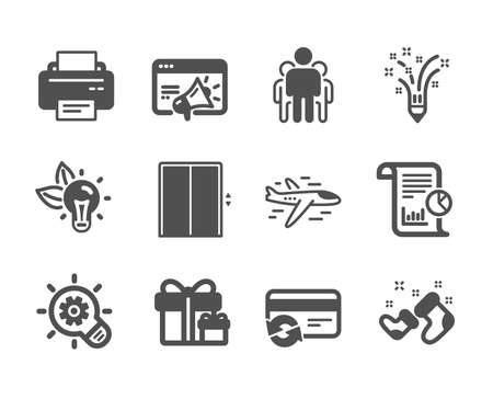Set of Business icons, such as Lift, Inspiration, Seo marketing, Group, Printer, Santa boots, Change card, Report, Surprise package, Airplane, Eco energy, Cogwheel classic icons. Lift icon. Vector