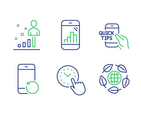 Recovery phone, Stats and Graph phone line icons set. Time management, Education and Eco organic signs. Backup smartphone, Business analysis, Mobile statistics. Office clock. Science set. Vector 向量圖像