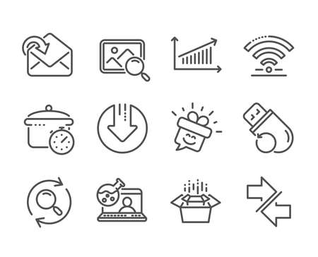 Set of Technology icons, such as Online chemistry, Packing boxes, Wifi, Receive mail, Boiling pan, Search, Synchronize, Smile, Chart, Download arrow, Flash memory, Search photo line icons. Vector