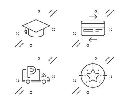 Credit card, Truck parking and Graduation cap line icons set. Star target sign. Bank payment, Free park, University. Winner award. Business set. Line credit card outline icon. Vector Illusztráció