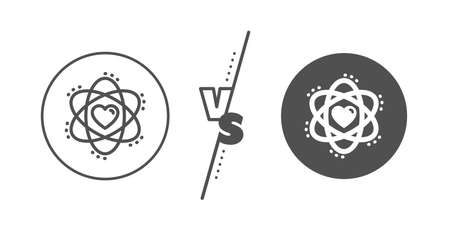 Energy sign. Versus concept. Atom with heart line icon. Chemical element symbol. Line vs classic atom icon. Vector Stock Illustratie