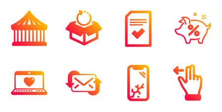 Web love, Refresh mail and Carousels line icons set. Checked file, Smartphone broken and Return package signs. Loan percent, Touchscreen gesture symbols. Social network, New e-mail. Vector