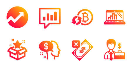 Refresh bitcoin, Pay and Rejected payment line icons set. Analytical chat, Loyalty program and Audit signs. Graph laptop, Businessman case symbols. Update cryptocurrency, Beggar. Finance set. Vector