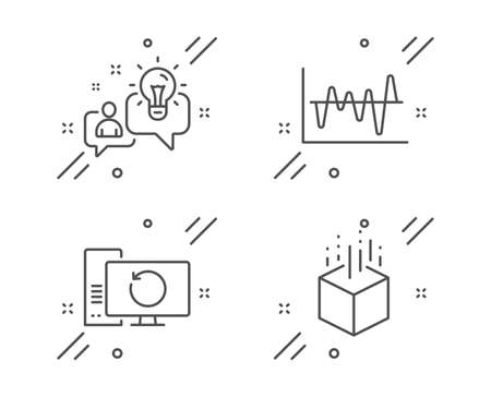 Idea, Stock analysis and Recovery computer line icons set. Augmented reality sign. Solution, Business trade, Backup info. Virtual reality. Science set. Line idea outline icon. Vector