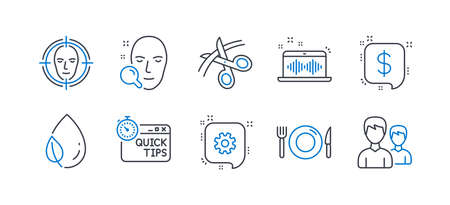 Set of Business icons, such as Leaf dew, Scissors, Quick tips, Payment message, Face detect, Cogwheel, Music making, Food, Face search, Couple line icons. Water drop, Cutting ribbon. Vector  イラスト・ベクター素材