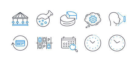 Set of Technology icons, such as Carousels, Parking place, Refund commission, Search calendar, Chemistry lab, Face id, Cogwheel, Time management, Pie chart, Time line icons. Vector