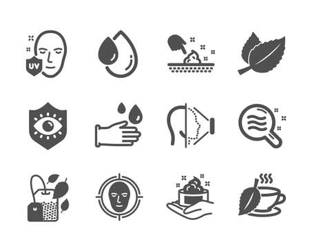 Set of Medical icons, such as Mint bag, Skin moisture, Oil drop, Uv protection, Mint tea, Rubber gloves, Skin condition, Face id, Eye protection, Face detect classic icons. Mint bag icon. Vector