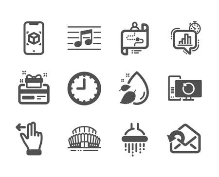 Set of Business icons, such as Augmented reality, Sports stadium, Time, Loyalty card, Touchscreen gesture, Send mail, Shower, Recovery computer, Journey path, Musical note, Water drop. Vector Illustration