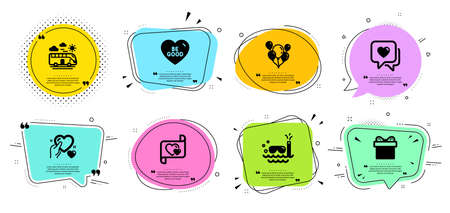 Love letter, Gift box and Hold heart line icons set. Chat bubbles with quotes. Bus travel, Heart and Scuba diving signs. Balloons, Be good symbols. Present package, Care love. Holidays set. Vector