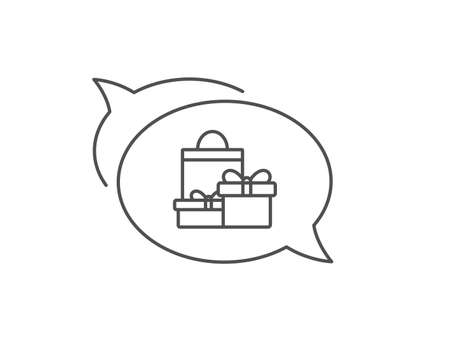 Gift boxes with bag line icon. Chat bubble design. Present or Sale sign. Birthday Shopping symbol. Package in Gift Wrap. Outline concept. Thin line shopping icon. Vector