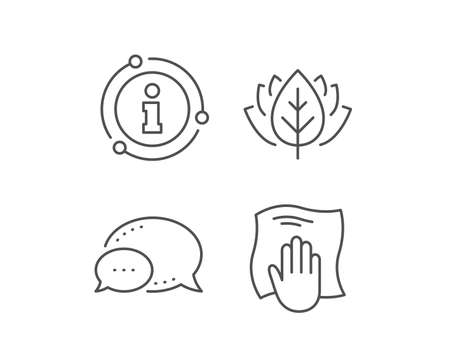 Cleaning cloth line icon. Chat bubble, info sign elements. Wipe with a rag symbol. Housekeeping equipment sign. Linear washing cloth outline icon. Information bubble. Vector Ilustrace