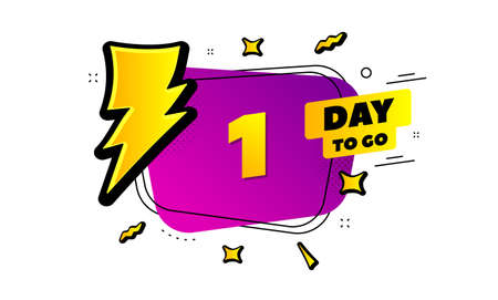1 day to go sign. Lightning bolt badge. One day left icon. Thunder bubble vector banner. Price tag design. Promotion sale badge. Limited discounts. Vector Foto de archivo - 129156825