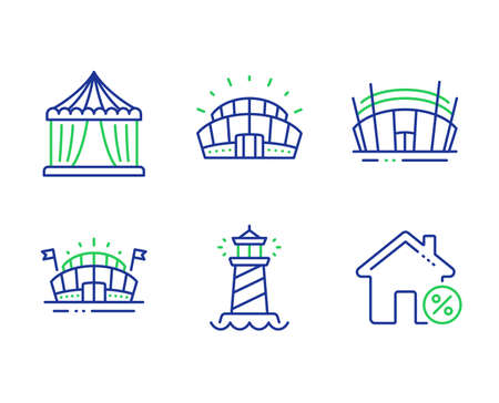 Sports arena, Arena stadium and Lighthouse line icons set. Sports stadium, Circus tent and Loan house signs. Sport complex, Searchlight tower, Attraction park. Discount percent. Vector