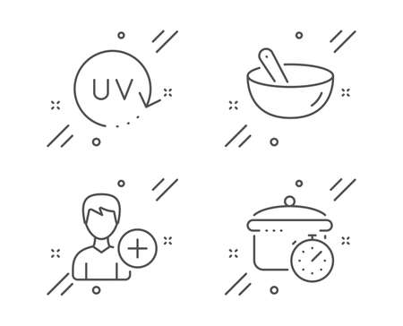 Add person, Uv protection and Cooking mix line icons set. Boiling pan sign. Edit user data, Skin cream, Bowl. Cooking timer. Line add person outline icon. Vector Çizim