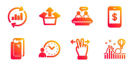 Smartphone payment, Time management and Touchscreen gesture line icons set. Employees talk, Send box and Smartphone glass signs. Update data, Roller coaster symbols. Mobile pay, Work time. Vector 일러스트