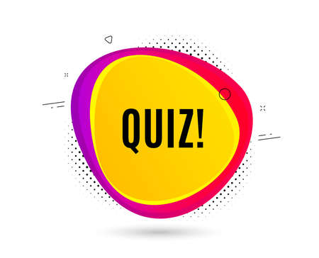 Quiz symbol. Banner text shape. Answer question sign. Examination test. Geometric vector banner. Quiz text. Gradient shape badge. Halftone pattern. Vector  イラスト・ベクター素材