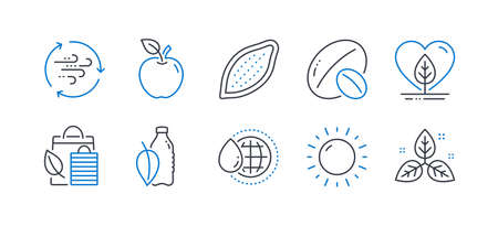 Set of Nature icons, such as World water, Soy nut, Water bottle, Apple, Local grown, Bio shopping, Cocoa nut, Sunny weather, Wind energy, Fair trade line icons. Aqua drop, Vegetarian food. Vector