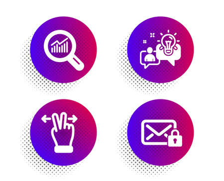 Touchscreen gesture, Data analysis and Idea icons simple set. Halftone dots button. Secure mail sign. Swipe, Magnifying glass, Solution. Private e-mail. Technology set. Vector Ilustrace