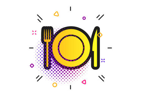 Food sign icon. Halftone dots pattern. Cutlery symbol. Knife and fork, dish. Classic flat food icon. Vector