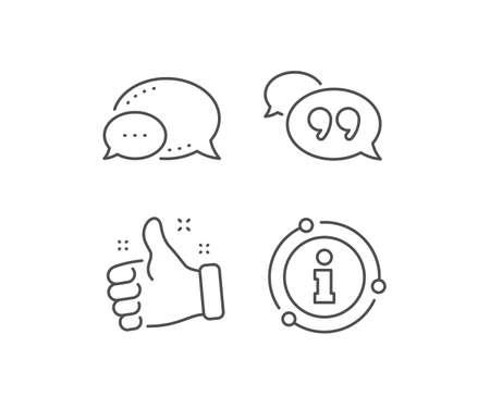 Quote bubble line icon. Chat bubble, info sign elements. Chat comment sign. Speech bubble symbol. Linear quote bubble outline icon. Information bubble. Vector Illustration
