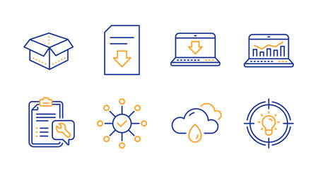Open box, Web analytics and Survey check line icons set. Internet downloading, Rainy weather and Download file signs. Spanner, Idea symbols. Delivery package, Statistics. Business set. Vector