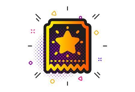 Bonus points. Halftone circles pattern. Loyalty star ticket icon. Discount program symbol. Classic flat loyalty ticket icon. Vector