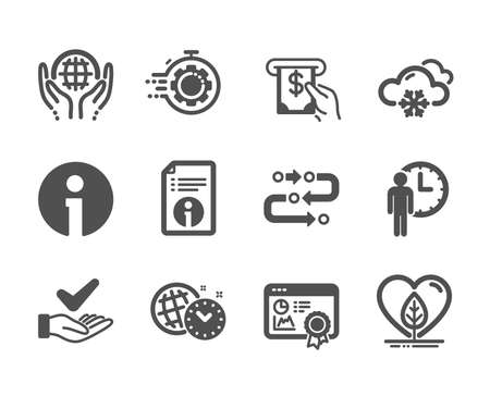 Set of Business icons, such as Methodology, Seo certificate, Waiting, Info, Snow weather, Seo timer, Technical info, Local grown, Atm service, Organic tested, Dermatologically tested. Vector