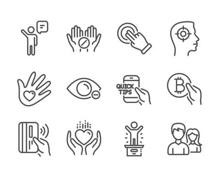 Set of People icons, such as Education, Winner podium, Touchscreen gesture, Medical tablet, Hold heart, Social responsibility, Myopia, Contactless payment, Agent, Bitcoin pay, Couple. Vector Иллюстрация