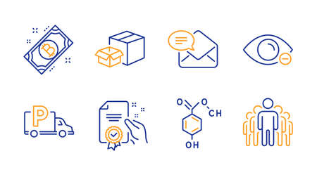 Chemical formula, Myopia and Certificate line icons set. Bitcoin, Packing boxes and Truck parking signs. New mail, Group symbols. Chemistry, Eye vision. Business set. Vector